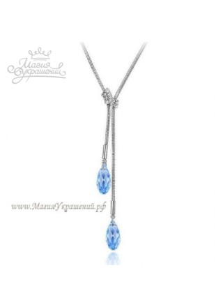 Подвеска с голубыми висячими кристаллами Swarovski