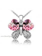 Подвеска Бабочка с розовыми кристаллами Сваровски
