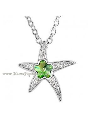 Подвеска Звездочка с зеленым цветочком