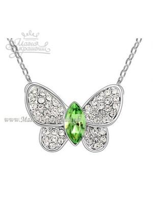 Подвеска Бабочка с зеленым кристаллом