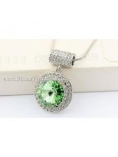 Подвеска Свет Кометы с зеленым кристаллом Swarovski