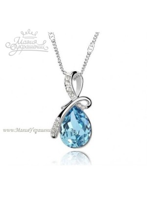 Кулон с голубым кристаллом Swarovski