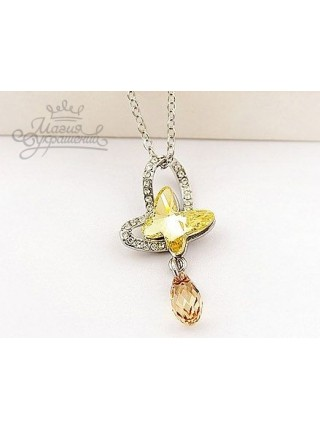 Подвеска Солнечная бабочка с кристаллами Swarovski