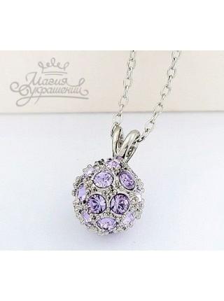 Подвеска Шарик фиолетовый блеск с кристаллами Сваровски