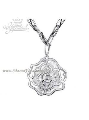 Подвеска Серебряная роза с кристаллами Сваровски