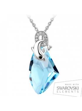 Подвеска Дельфин с голубым кристаллом Сваровски