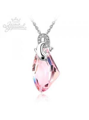 Подвеска Дельфин с розовым кристаллом Сваровски