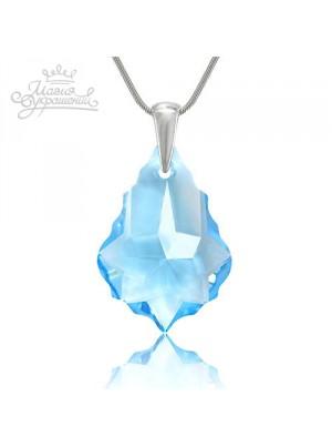 Подвеска с голубым кристаллом Барокко Swarovski