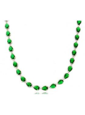 Ожерелье Торжество с зелеными камнями