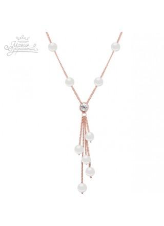 Ожерелье Жемчужное с кристаллом Сваровски