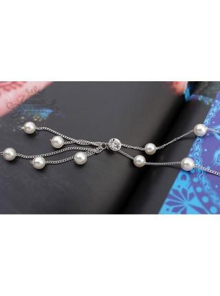 Ожерелье Жемчужное с кристаллом Swarovski