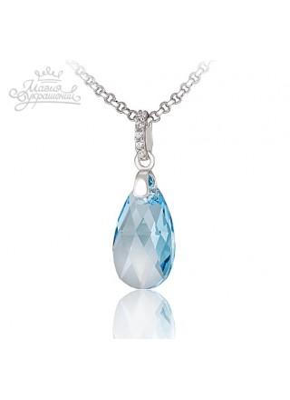 Подвеска Полярное сияние голубой кристалл Swarovski medium