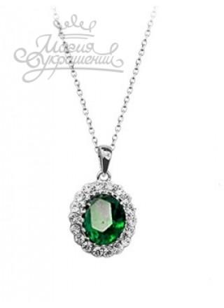 Подвеска Классическая с зеленым и прозрачными кристаллами Swarovski