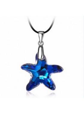 Подвеска кулон Звезда со Swarovski Bermuda Blue