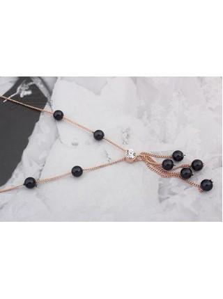 Ожерелье Жемчужное черное с кристаллом Сваровски