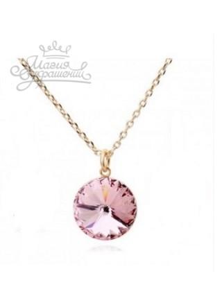 Подвеска с розовым кристаллом Сваровски