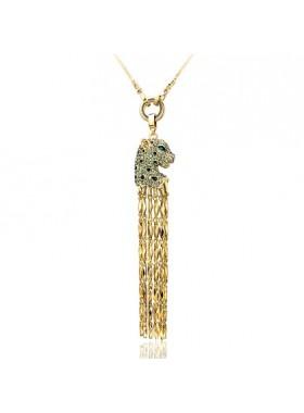 Подвеска ожерелье длинное Гепард с кристаллами Swarovski
