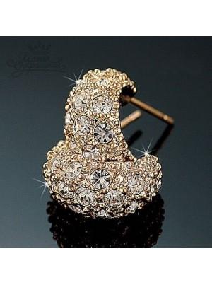 Серьги Полумесяц 18 мм с кристаллами Сваровски