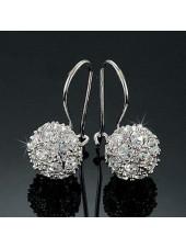 Серьги Шарики с прозрачными кристаллами