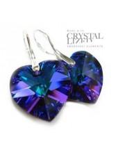 Серьги Сердце с синим кристаллом Гелиотроп
