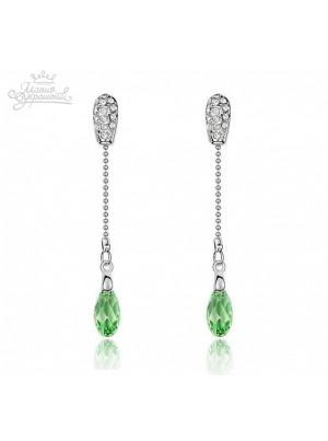 Серьги Капли зеленого цвета