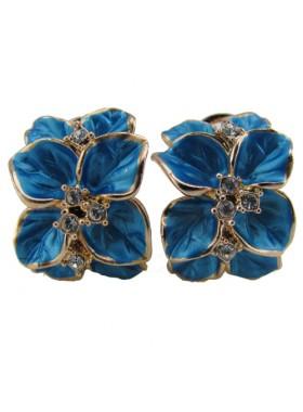 Серьги Голубые цветы с кристаллами