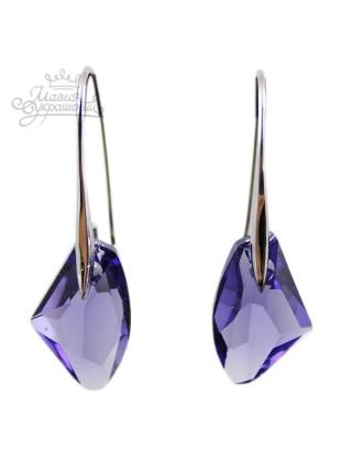 Серьги Фиолетовые кристаллы Сваровски