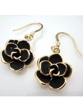 Серьги Черная Роза в золоте