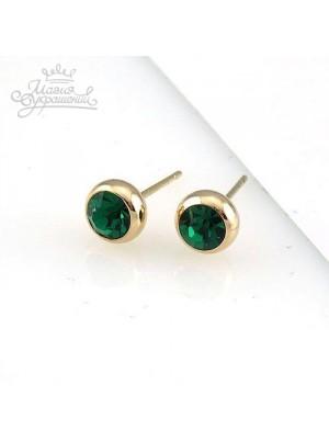 Серьги Зеленый кристалл Сваровски (Swarovski)