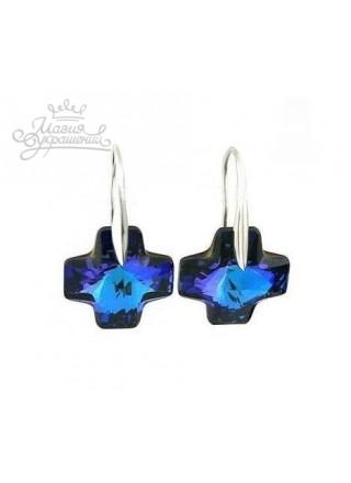 Серьги Кристалл Cross сине фиолетовый Swarovski