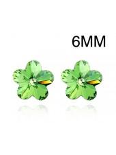 Серьги Зеленый цветочек со Сваровски