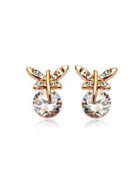 Серьги в виде Бабочки на кристалле