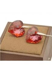 Серьги Алое Сердце со Сваровски кристаллом