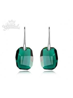 Серьги с крупными зелеными кристаллами Swarovski