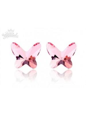 Серьги Бабочки со Сваровски розовые