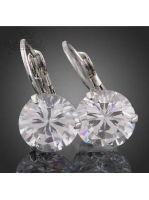 Серьги с круглым прозрачным кристаллом Swarovski