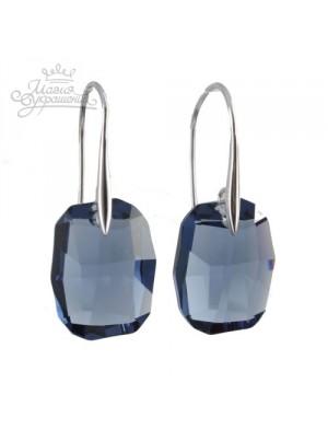 Серьги с крупными синими кристаллами Swarovski Montana