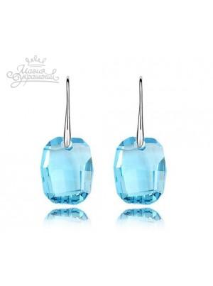 Серьги с крупными голубыми кристаллами Swarovski