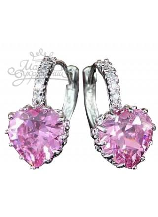 Серьги Розовое Сердце с кристаллами Сваровски