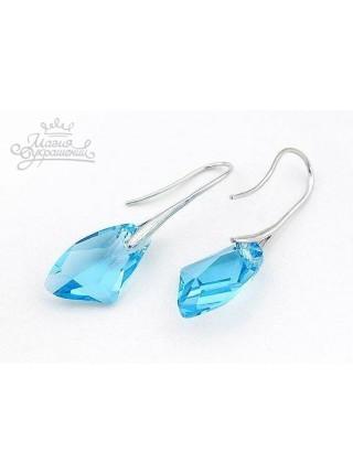 Серьги Голубые кристаллы Swarovski (Сваровски)