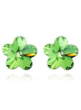 Серьги Зеленый Цветочек со Swarovski