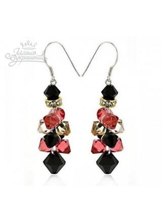 Серьги Цветные гроздья с алыми и черными кристаллами Сваровски