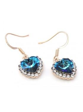 Серьги Золотые сердцеедки сине-голубые