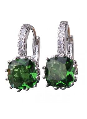 Серьги с кристаллом квадратным зеленым