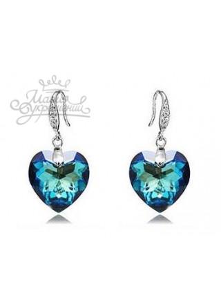 Серьги Сверкающие синие сердца