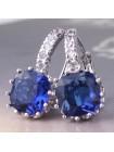 Серьги с кристаллом квадратным синим
