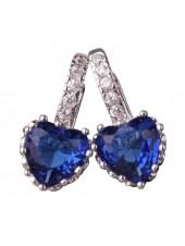 Серьги Сердце с синими камнями