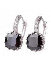 Серьги с квадратным кристаллом - Black