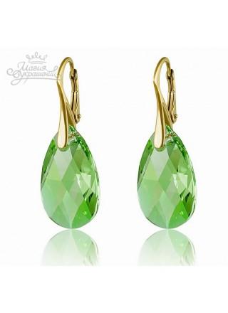 Серьги прозрачно-зеленые Миндаль со Swarovski
