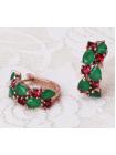 Серьги Магический коктейль с зелеными и рубиновыми фианитами